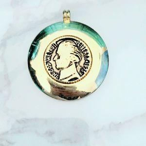 Vintage Gold Tone Coin Pendant